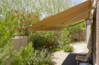 Backyard with automatic retractable awning