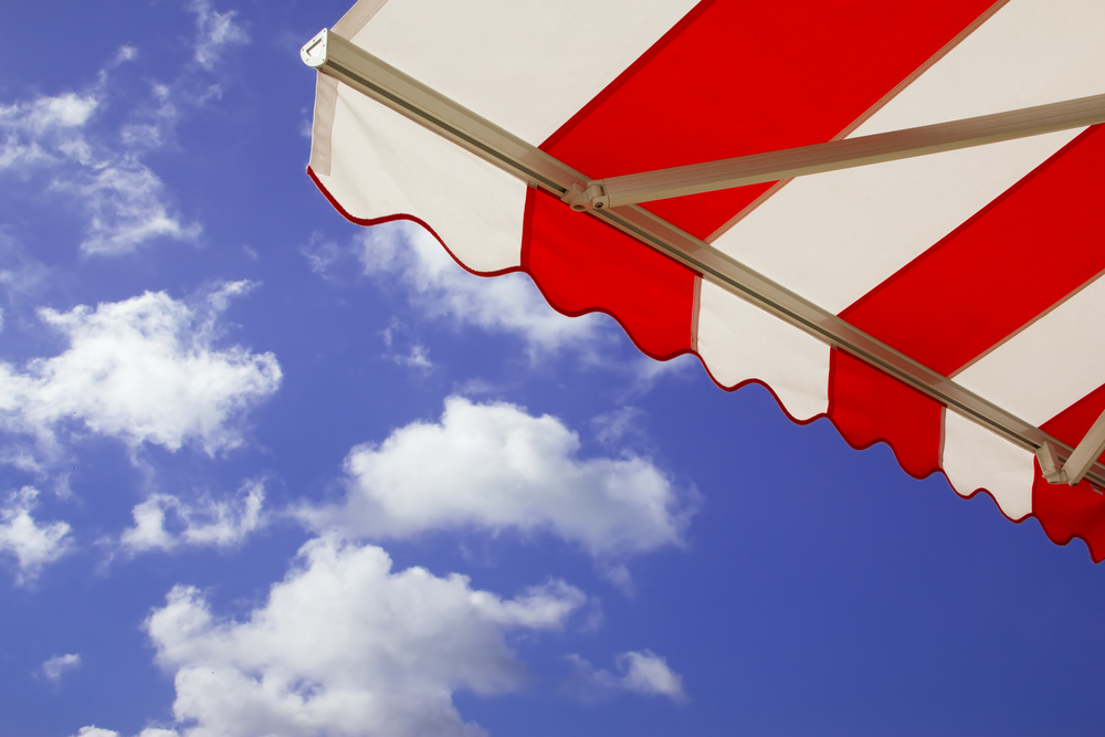 canvas awnings over a bright and sunny day