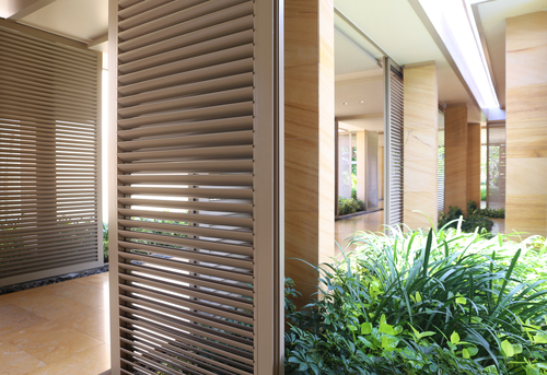 a modern corridor with Alfresco Blinds Online