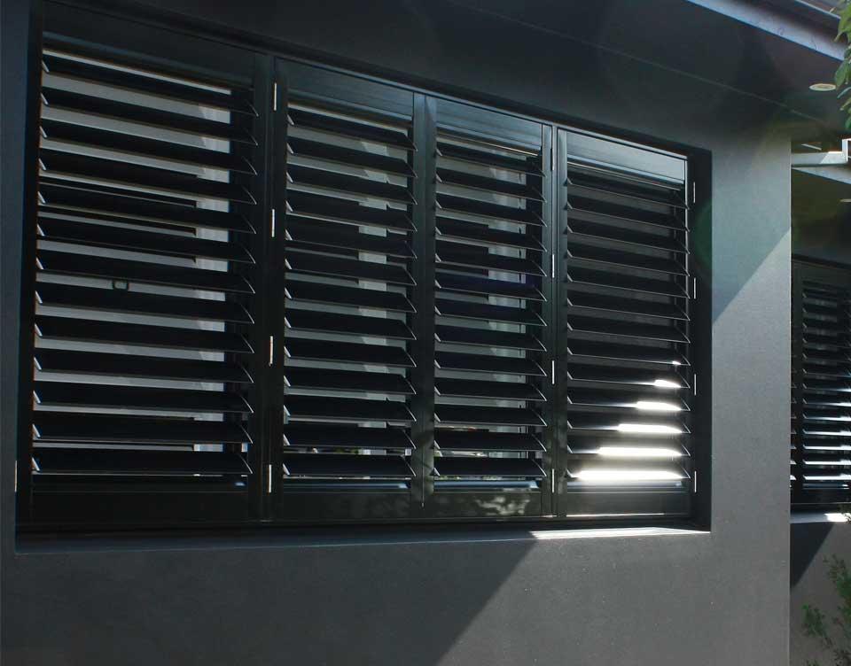 Exterior plantation shutter rialto shutters sydney for Black window shutters interior