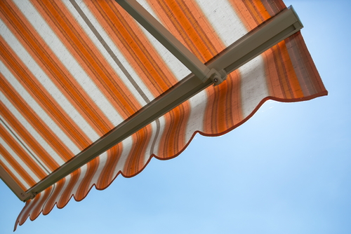 a close up of a retractable home awning