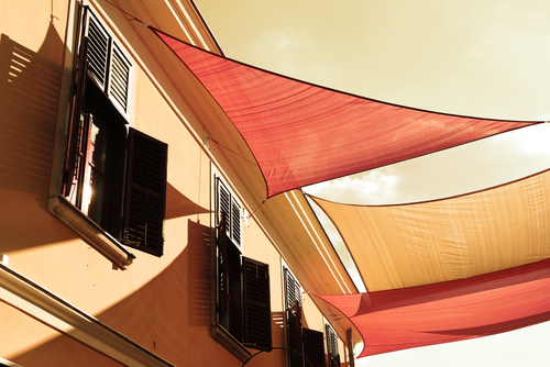 Image a Red and Yellow stylish canvas awnings